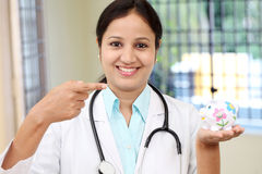 Young female doctor holding a piggy bank. Cheerful young female doctor holding a piggy bank Royalty Free Stock Photography