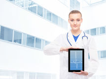 Young female doctor holding a tablet Royalty Free Stock Image