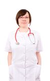 Young Female Doctor, Isoalted On White Royalty Free Stock Photography