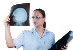 Young female doctor looking at x-ray picture Royalty Free Stock Images