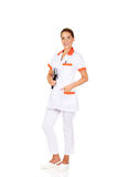 Young female doctor or nurse holding black notes Royalty Free Stock Photo