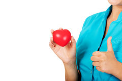 Young female doctor or nurse holding heart toy.  stock photography