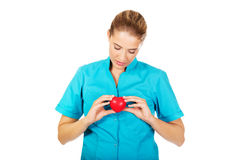 Young female doctor or nurse holding heart toy.  royalty free stock photos