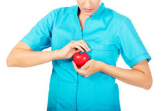 Young female doctor or nurse holding heart toy.  royalty free stock images