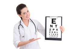 Young female doctor ophthalmologist and eye test chart isolated Royalty Free Stock Photography