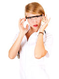 Young female doctor in protective glasses Royalty Free Stock Image