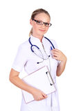 Young female doctor with stethoscope Stock Photo
