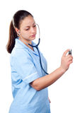 Young female doctor with stethoscope Royalty Free Stock Photo