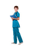 Young female doctor with stethoscope and folder Royalty Free Stock Photo
