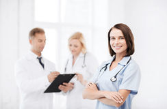 Young female doctor with stethoscope Stock Photography