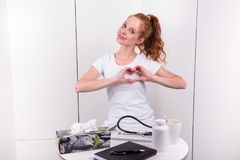 Young female doctor is talking about heart health.  royalty free stock images