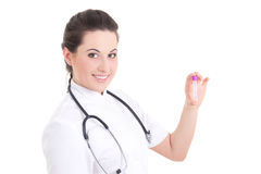 Young female doctor with test-tube Royalty Free Stock Photography