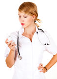 Young female doctor with thermometer Royalty Free Stock Image
