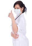 Young female doctor thumb up Stock Image