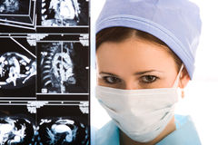 Young female doctor with tomogram Royalty Free Stock Photography