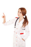 Young female doctor touchung virtual screen Royalty Free Stock Photo