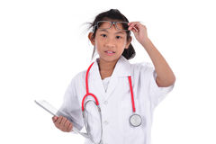 Young female doctor using tablet - isolated over a white background Stock Image