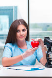 The young female doctor working in the lab Stock Photo