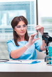 The young female doctor working in the lab Stock Images