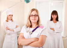 Young female doctors team in hospital Royalty Free Stock Images