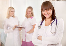 Young female doctors team in hospital Stock Photography