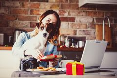 Young female with dog opening gifts. On a kitchen stock image