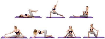 The young female doing exercises on white Stock Image
