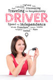 Young female driver is under the emotions bubble Royalty Free Stock Photo