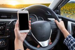 Young female driver using touch screen smartphone and hand holdi stock photo