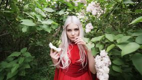 Young female elf in a red dress in the garden. stock video footage