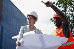 Young female engineer on construction site Royalty Free Stock Photo