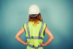 Young female engineer in high vis and hardhat Stock Photos