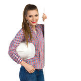 Young Female Engineer Posing With A Placard Royalty Free Stock Photography