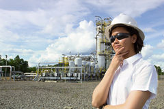 Young female engineer thinking. royalty free stock images