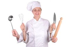 Young female executive chef with four hands Stock Photos