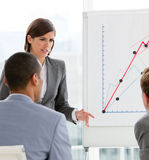 Young female executive presenting statistics Royalty Free Stock Photography
