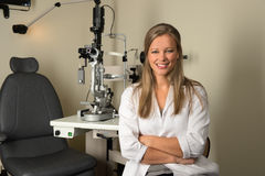 Young Female Eye Doctor Smiling Stock Image