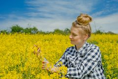 Farmer examining. Young female farmer examining single flower against yellow field stock photography