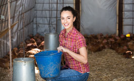 Young female farmer in farm house Royalty Free Stock Images