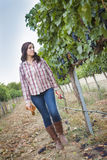 Young Female Farmer Inspecting the Grapes in Vineyard Stock Photos
