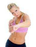 Young female fitness trainer. Boxing. Isolated on white Stock Images