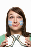 Young Female Football Fan With Argentinian Flag Royalty Free Stock Photo