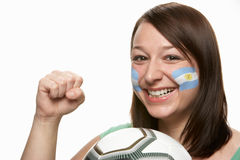 Young Female Football Fan With Argentinian Flag. Painted On Face Royalty Free Stock Photo