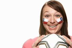 Young Female Football Fan With Chilean Flag Royalty Free Stock Images