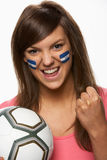 Young Female Football Fan With Honduran Flag Paint Royalty Free Stock Images
