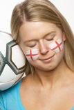 Young Female Football Fan With St Georges Flag Stock Photography