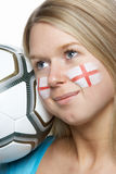 Young Female Football Fan With St Georges Flag Stock Images