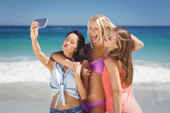 Young female friends taking selfie Stock Photos