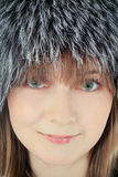 Young female in fur hat close up Stock Photo