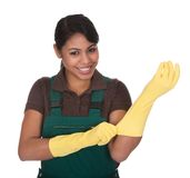 Young Female Gardner Wearing Gloves Royalty Free Stock Photography